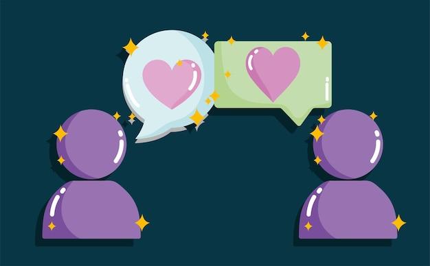 ソーシャルメディア、カップルチャット愛ロマンチックなコンセプトイラスト Premiumベクター