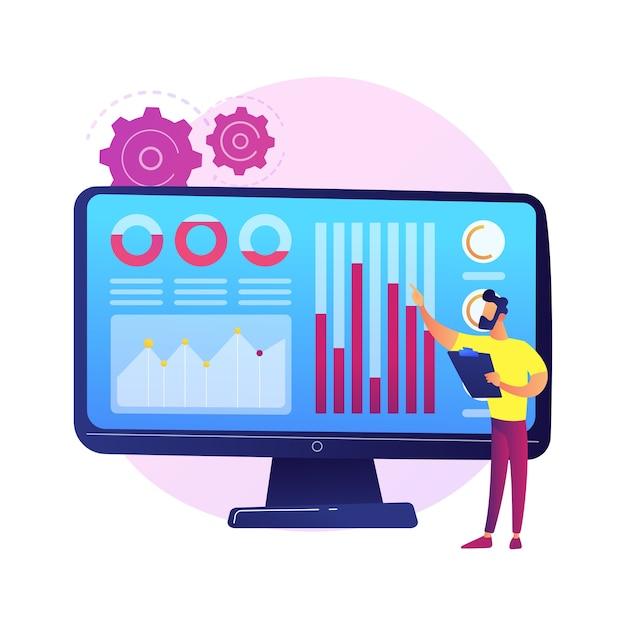 Data center per social media. statistiche smm, ricerche di marketing digitale, analisi delle tendenze di mercato. esperto femminile che studia i risultati del sondaggio online Vettore gratuito