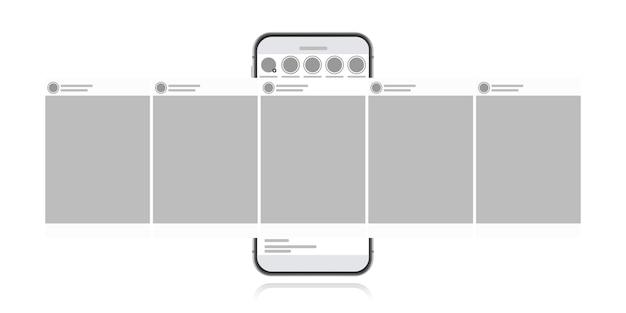 Концепция дизайна социальных средств массовой информации на белом фоне. смартфон с каруселью в социальной сети. современный плоский стиль иллюстрации. Premium векторы
