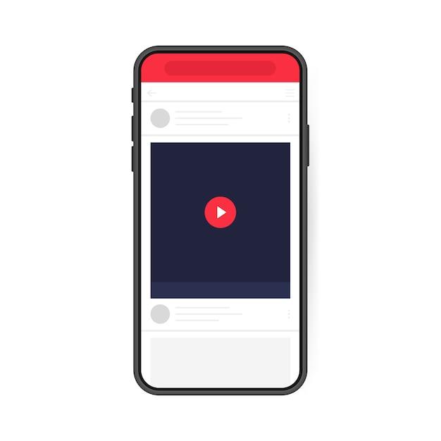 Концепция дизайна социальных медиа. смартфон видео плеер. может быть использован для макета видео, блогов, канала. современный плоский стиль Premium векторы