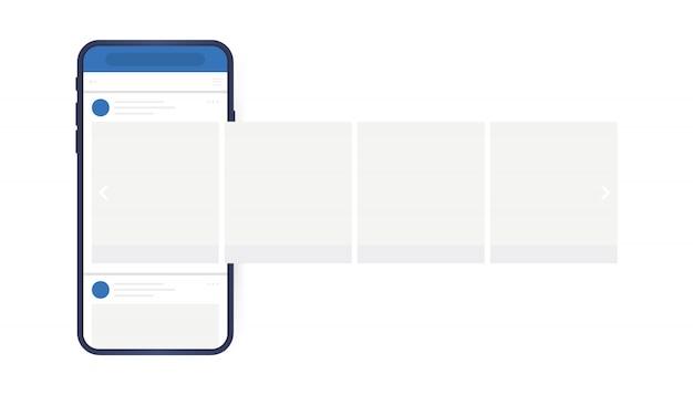 Концепция дизайна социальных медиа. смартфон с интерфейсом карусели пост в социальной сети. современный плоский стиль Premium векторы