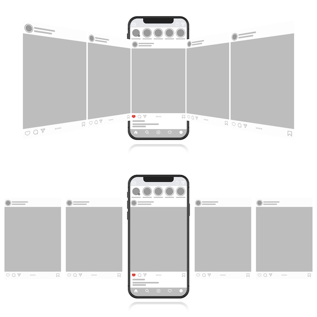 Social media design concept on a white background. smartphone with carousel interface post on social network. modern flat style Premium Vector