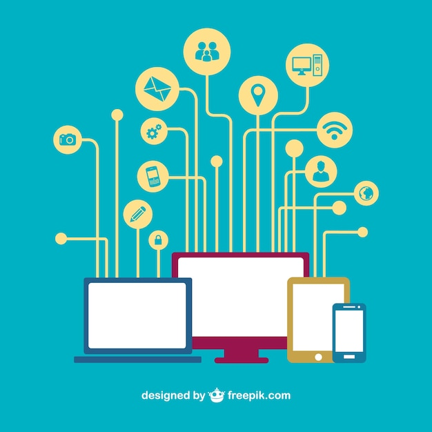 Social Media Devices Networking Vector Vector Free Download