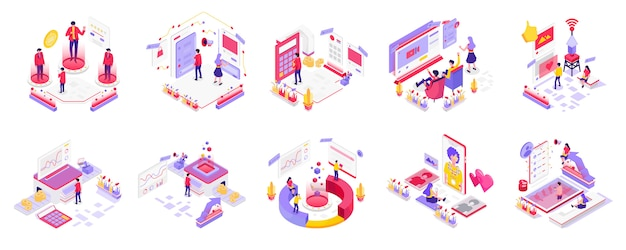 Social media and digital marketing isometric Premium Vector