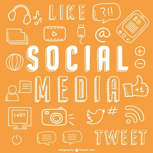 Social media drawing icons Free Vector