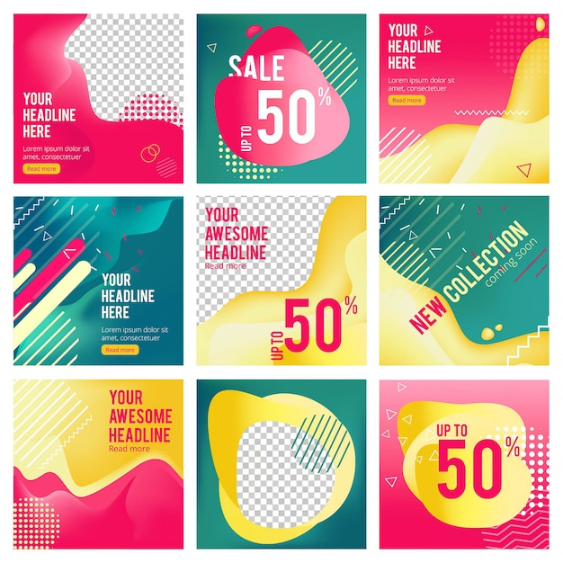 Social media editable banners. minimalism web offers template pictures with place for text vector posting banners Premium Vector
