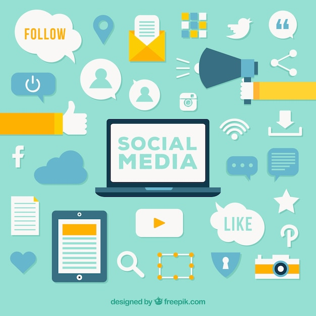 Social media elements background in flat style Free Vector