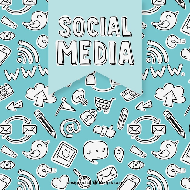 Social media elements background in hand drawn style Free Vector