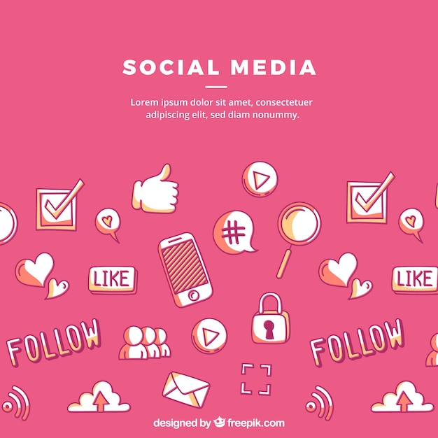 Social media elements background Free Vector