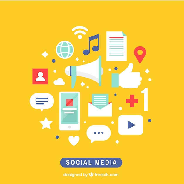 Social media elements background Free Vector