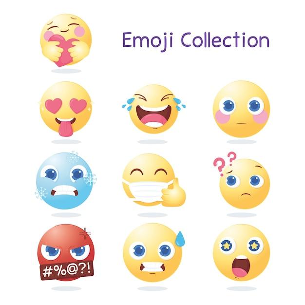 Иконки коллекции смайликов в социальных сетях, различные выражения и реакции иллюстрации Premium векторы