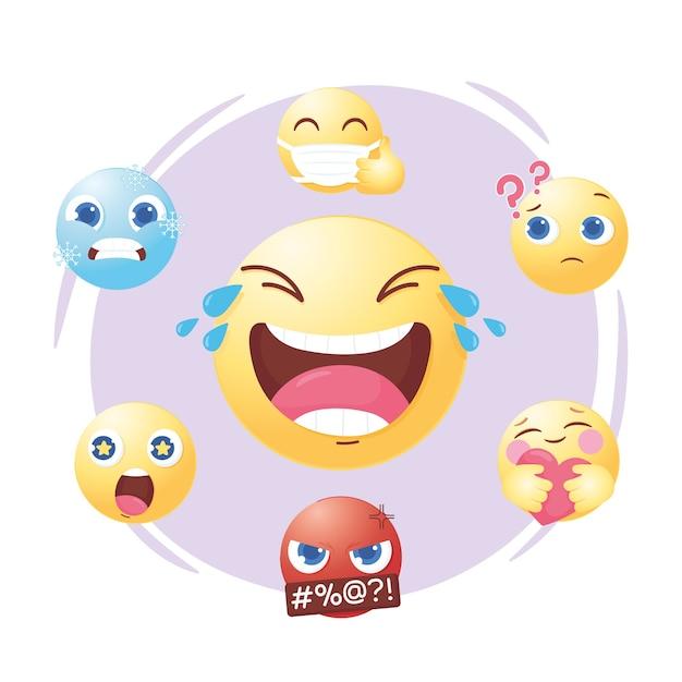 Смайлики в социальных сетях задают разное настроение и выражение эмоций Premium векторы