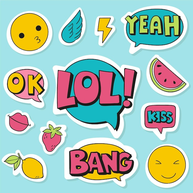 Social media emojis and stickers Free Vector