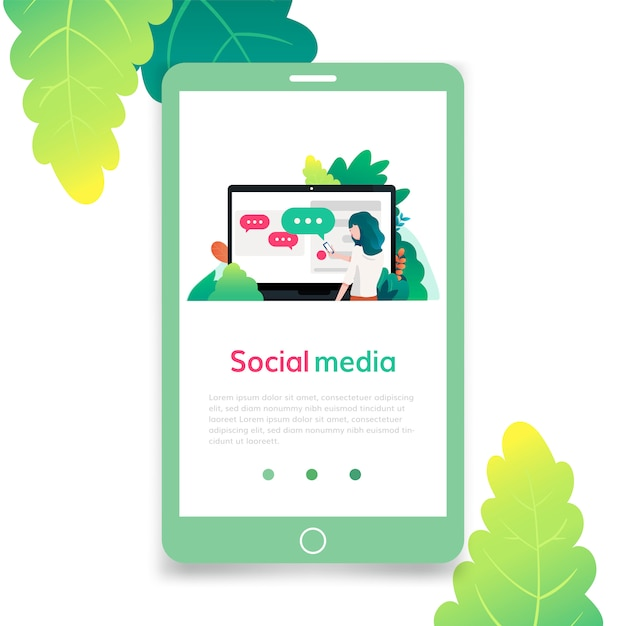 Social Media Flat Design Illustration For Graphic And Web Design Template For Landing Page Banner Poster Ad Or Print Media Premium Vector