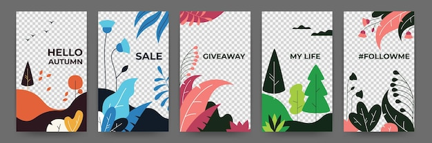 Social media flat plant posters. abstract vibrant autumn stories floral frames template. vector illustration magical landscape summer and spring posters for invitation on transparent background Premium Vector