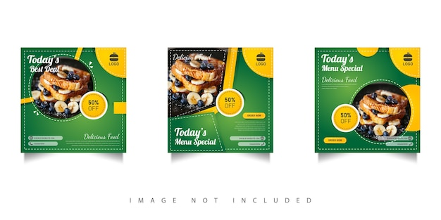 Social media food sale template with green gradations Premium Vector