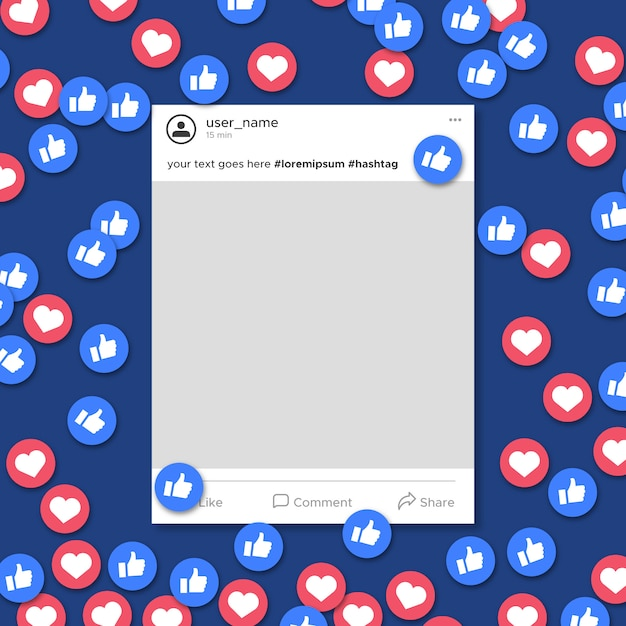 Social media frame template notification Free Vector