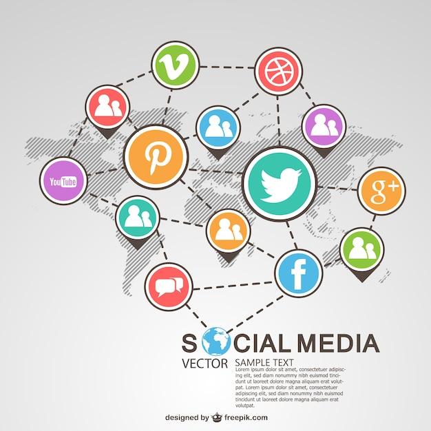 Social media global system Premium Vector