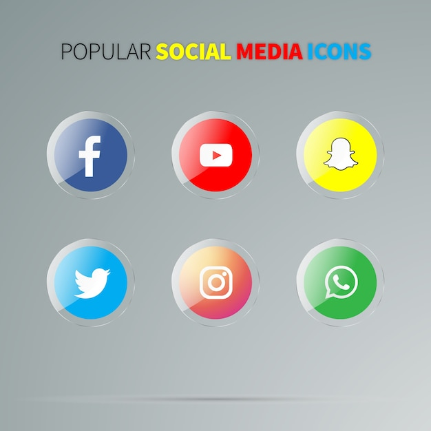 Social media glossy icons Premium Vector