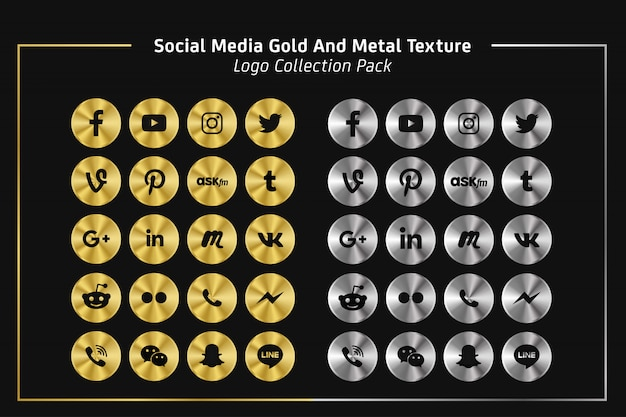 Social media gold and metal texture logo collection pack Premium Vector