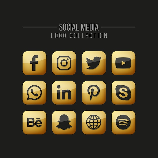 Social media golden icons set on black Premium Vector