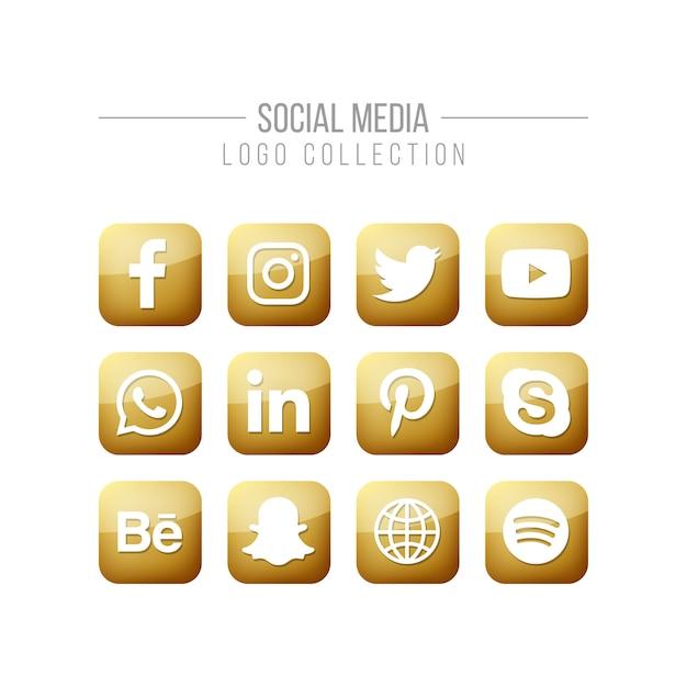 Social media golden logo collection Premium Vector