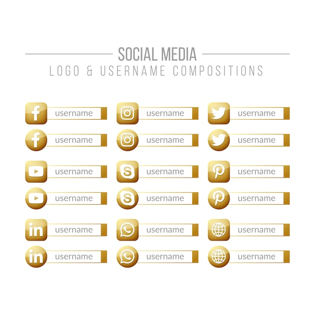Social media golden logo and username compositions Premium Vector