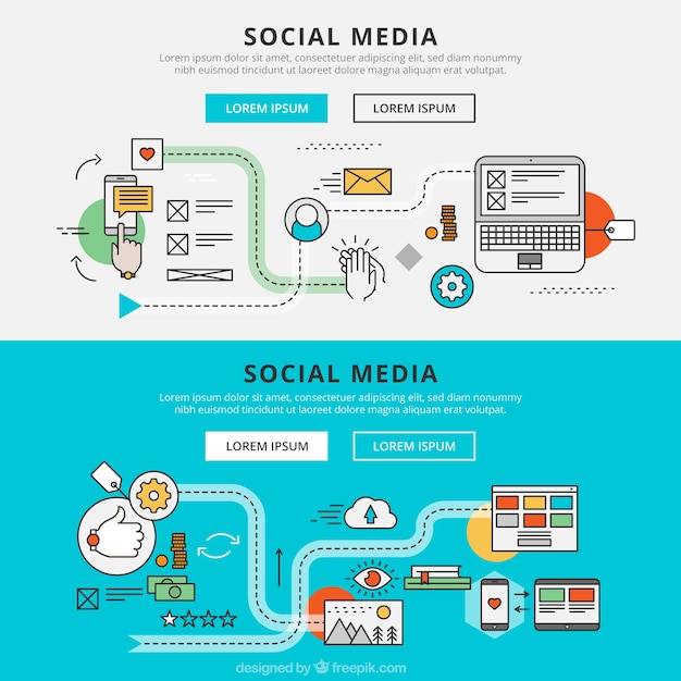 Social media graphic banners Vector | Free Download