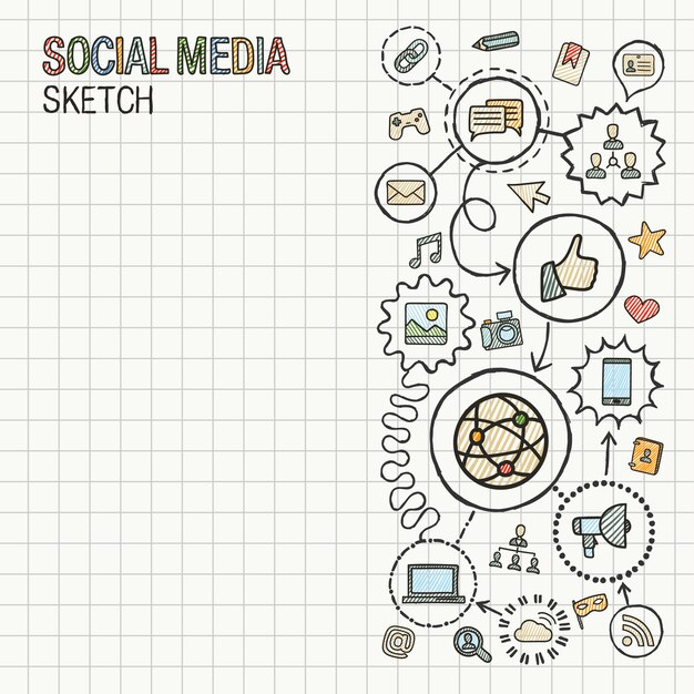 Social media hand draw integrate icons set on paper. colorful  sketch infographic illustration. connected doodle pictogram. internet, digital, marketing, network, global interactive concept Premium Vector