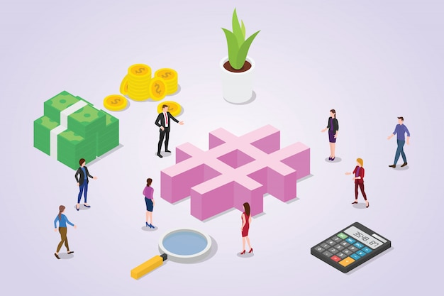 Social media hashtag concept with crowd people for business with isometric style Premium Vector