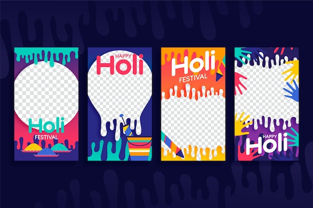 Social media holi festival with transparent background Free Vector