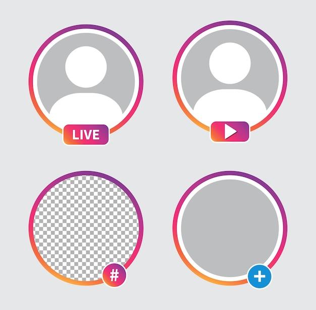 소셜 미디어 아이콘 아바타. 라이브 비디오 스트리밍. 프리미엄 벡터