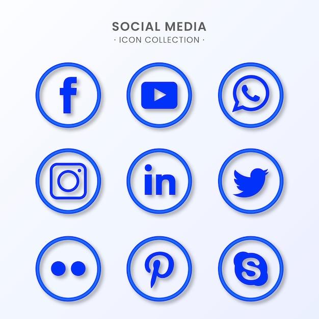 Social media icon collection Free Vector
