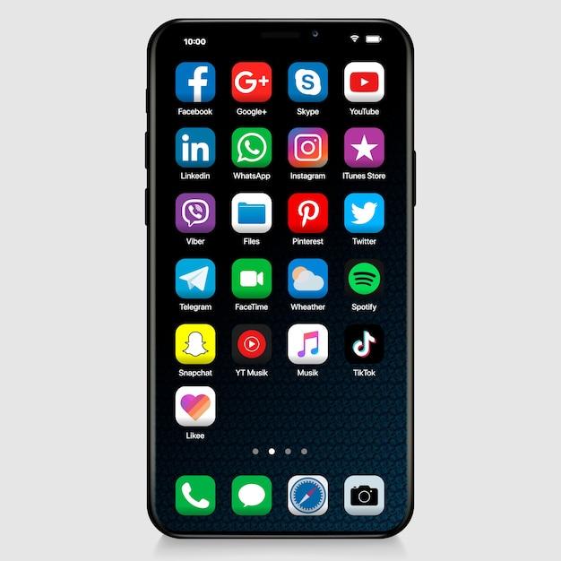 Iphoneインターフェイスのソーシャルメディアアイコン。最も人気のあるソーシャルメディアのアイコンを設定 Premiumベクター