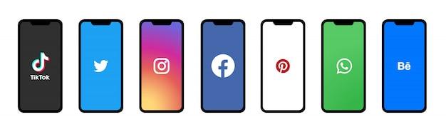 Social media icon set on mobile screen. Premium Vector