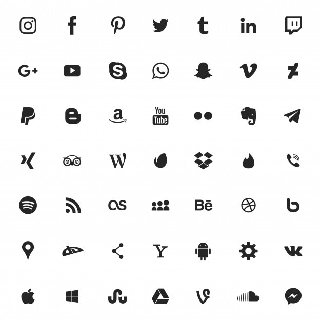 Social media icon set Premium Vector