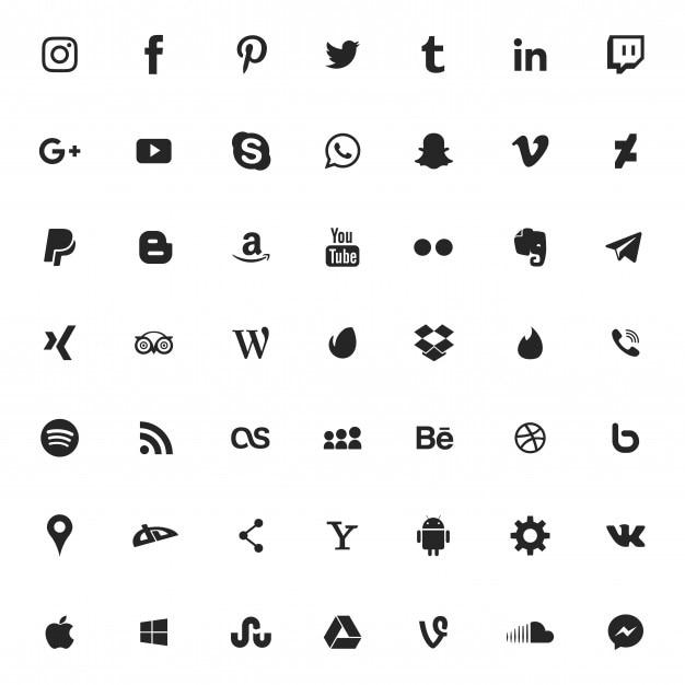 Social media icon set Premium Vector