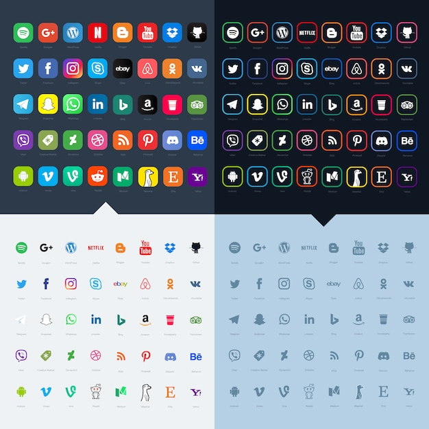 Social media icon sets for your website Premium Vector