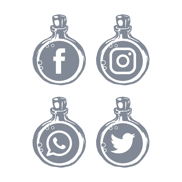 Social media icons bottle template Premium Vector