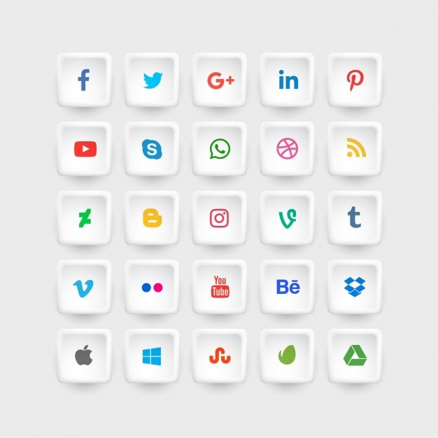 Social media icons collection in colors Free Vector