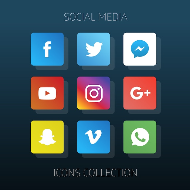 Social media icons collection Free Vector