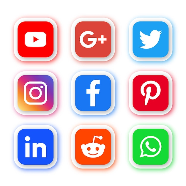 Social media icons logos in round rectangle modern buttons Premium Vector