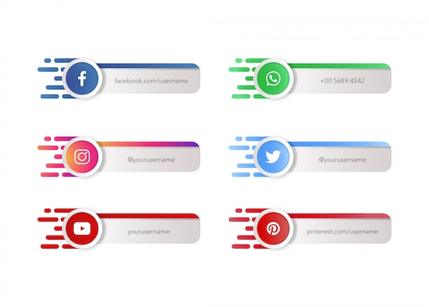 Social media icons or logos with banner template Premium Vector