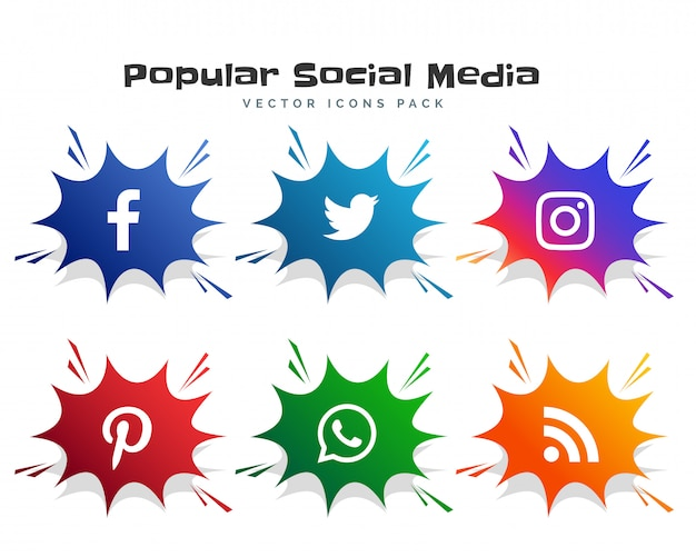 Social media icons logotype in comic bubble style Free Vector