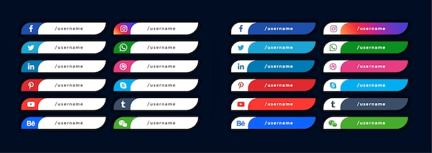 Social media icons lower third banners Free Vector