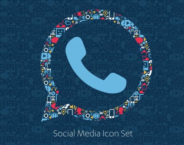 Social media icons, network, computer concept. Premium Vector