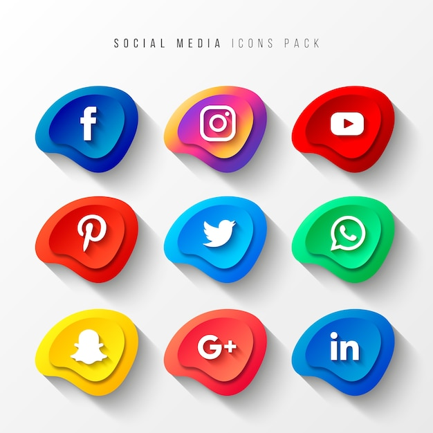 Social media icons pack 3d button effect Free Vector