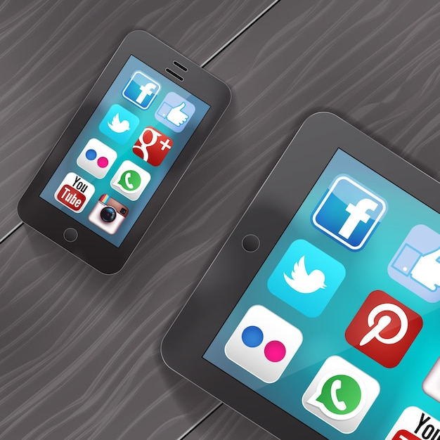 Social media icons on screen of ipad and iphone Free Vector