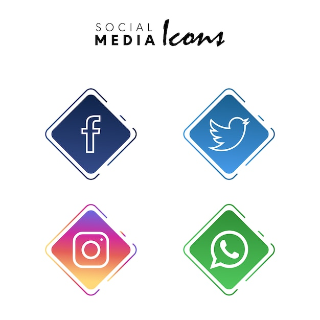 Social media icons set collection Free Vector