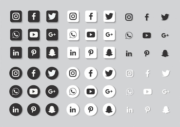 Social media icons set isolated on gray background. Premium Vector
